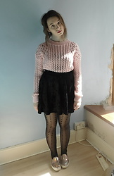 Louise Jay - Charity Shop Pink Jumper, Everything Five Pounds Black Velvet Skirt, Schuh Pink Holographic Shoes - Messy