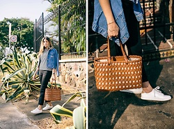 Maristella Gonzalez - Topshop Denim Jacket, Kate Spade Leather Basket Weave Bag, H&M White Sneakers, Kate Spade Black Trousers, Kate Spade Stripe T Shirt - Basket Weave Leather Bag