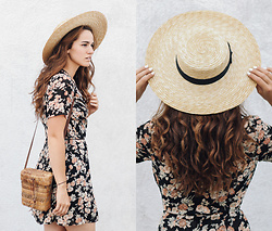 Tonya S. - Lack Of Color Hat, Reformation Floral Dress, Vintage Basket Bag - Modern Derby