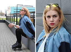 Rita G - Monki Bomber Jacket, Sure Grip Rollerskates, Owatch Watch, London Market Sunglasses - Chic, Fast & Unstoppable
