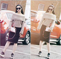 Katie - Club Monaco Off Shoulder Knit Top, Karen Walker Sunglasses, Niels Peeraer Bag, Reiss Knit Skirt, Stella Mccartney Platform Shoes - Ins: Katie_AvecChic