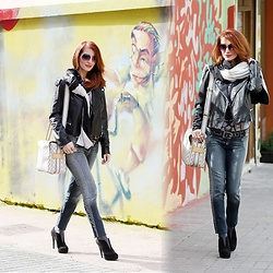 Redhead Illusion by Menia - Michael Kors Sunglasses, Cornelia Kremer Scarf, Mango Leather Jacket, Denny Rose Jeans, Louis Vuitton Bag, Denny Rose Belt - Rock 'N' Walk…!