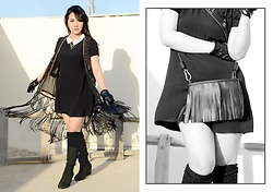 Jane E. - Dealsale Fringe Bag, Forever 21 Wedneday Dress, H&M Fringe Vest, Fellimina Knee High Boots - Fringe is Love