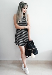 Thais Chung - Cat Headband, Forever 21 Striped Dress, Forever 21 Leather Backpack, Keds White Canvas Sneakers - YOUNG FOREVER