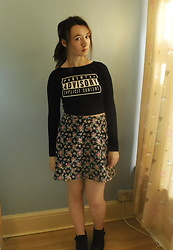 Louise Jay - H&M Parental Advisory Long Sleeve Crop Top, Handmade Navy Blue Floral Skirt - Navy Floral <3