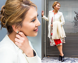 The Ambitionista - Salvatore Ferragamo Clutch, Zara White Coat, Zara Printed Skirt - Zara City Girl