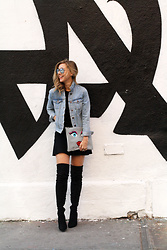 Ashley - Asos Otk Boots, Forever21 Denim Jacket, Nasty Gal Face Clutch, Urban Outfitters Lbd - Date Night Done Right
