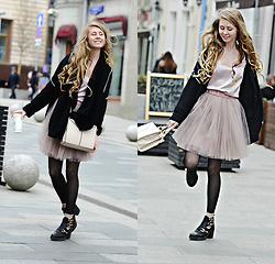 O L E C H K A - Topshop Cardigan, Topshop Bag, Topshop Boots, Calzedonia Socks, T Skirt Skirt, H&M Scarve - Pink is the new black