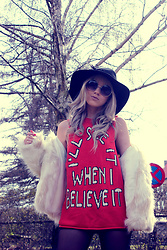 Joicy Muniz - Forever 21 Hat, Urban Outfitters Sunglasses, Wildfox Shirt, Forever 21 Coat - I'll see it when I believe it!