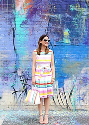 Jenn Lake - Kate Spade Striped Dress, Kate Spade Striped Purse, Stuart Weitzman Shoes, Kate Spade White Sunglasses, Bauble Bar Bracelet - Stripes on Stripes