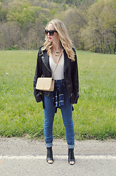 Stacey Belko - Lucky Brand Leather Jacket, Tobi Bodysuit, Chanel Bag, Urban Outfitters Jeans, Dolce Vita Shoes - Shop tobi #2.