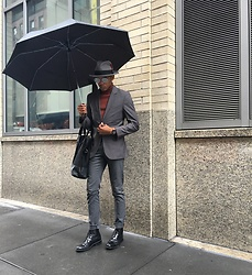 Justin T - Zara Suit, Topman Turtleneck, Aldo Boots, Brixton Hat, Banana Republic Bag - Rain Delay