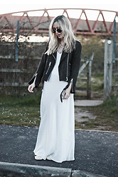 Daniella Robins - All Saints Suede Jacket - Styling Tips For The Floor Length Slip Dress