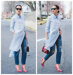 Veronica P - Pierre Hardy Bag, Topshop Shoes - The blue shirt