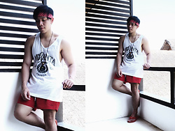 Ronwell Lim - Topman Red Swim Shorts, American Eagle Outfitters Orange Flip Flops - Dressed For Summer