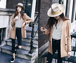 Bea G - Blazer, Hat, Shirt, Jeans, Shoes - Mustard Hat & Pinstripe Shirt