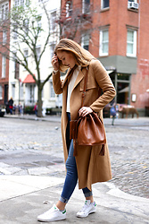 Charlotte Bridgeman - Forever New Coat, Adidas Sneakers - The Perfect Camel Coat