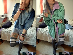 Kelly Doll - Cheap Monday Jeans Colored Crop Top, Fila Oldschool Jacket, H&M Grey High Waist Jeans, H&M Grey High Knees - Maay