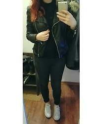 Tine Respirencore - Converse White, H&M Grey Jeans, Zara Pleather Jacket, Gina Tricot High Neck Top - White accent on black outfit