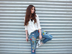 OH ANNE (BLOGGER) - Promod Blouse, Dickies Crop Top, (Diy   Selfmade) Patch Jeans, Adidas Sneaker - DIY PATCH JEANS & ADIDAS SUPERSTARS