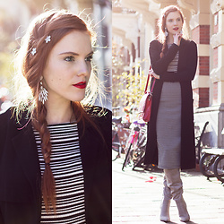 Sonja Vogel - Zenner Hair Clips, Zara Striped Off Shoulder Top, Primark Polka Dot Midi Pencil Skirt, Sacha Grey Over Knee Boots - Braid & Backlight