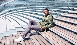 Willie Sparks - Zara Green Jacket, Zara Trousers, Timberland Sneakers - Chicago life