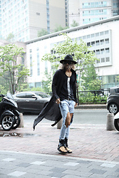INWON LEE - Byther Black Felt Fedora Hat, Byther Long Fit Black Cardigan, Byther Hard Destroyed Ripped Light Blue Jean - Avant-Garde Black Street Style