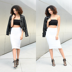 Shemmai Torres - American Apparel Tube Top, American Apparel Pencil Skirt, Sam & Libby Heels, H&M Leather Jacket - Double take / Video link Below