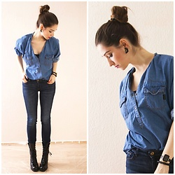 Illona.Verdi - Mango Jeans Bluse, Zara Denim, Guess? Boots, Nike Watches - Denim on denim 2.0