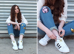 OH ANNE (BLOGGER) - Promod Blouse, Diy   Selfmade Patch Jeans, Adidas Sneakers - DIY PATCH JEANS & ADIDAS SUPERSTARS / 3