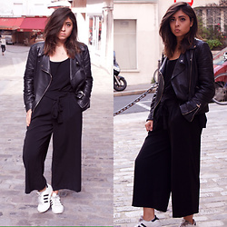 Liana . - Zara Leather Jacket, Zara Pants, Asos Cami, Adidas Sneakers - Laid Back Black