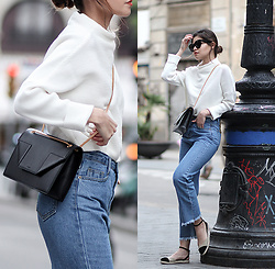 Adriana Gastélum - Shein Jumper, Shein Denim Culottes, Tabitha Simmons Espadrilles, Saint Laurent Betty Bag, Céline Audrey Sunglasses - Two in One