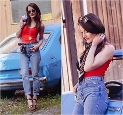 Stefanie - H&M Red Tank Top, Mango Silk Scarf, Pull & Bear Mom Jeans, Pull & Bear Wedges - Mom jeans & red tank