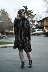 Elizabeth Claire - Mudd Faux Leather Jacket, Whowhatwear For Target Asymmetrical Striped Dress, Monki Zippered Boots - La Vie en Gris