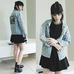 Lidia Zuin - Sheinside Denim Jacket With Patches, Lightinthebox Chain Necklace, Forever 21 Black Skater Dress, Office Black Ankle Boots - Warm but empty