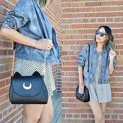 Amy Lai - Free People Denim Jacket, Korean Boutique Sunglasses, Luna Bag, Nordstrom Rack Romper - Luna by my side.