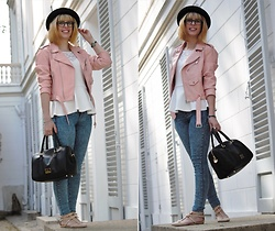 Mlle le Chat - H&M Hat, Zara Jacket, Primark Pants, Koneety Bag - Le perfecto rose