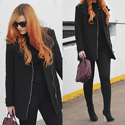 Tia T. - Mango Cat Eye Sunglasses, H&M Skinny Jeans - Clear Heel Boots with Black Turtleneck Sweater