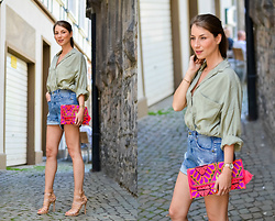 Stephanie Van Klev - Zara Oversized Shirt, Diesel High Waisted Shorts, Star Mela Clutch, Justfab Strappy Sandals - Touch Of Pink