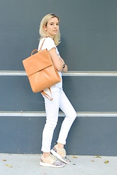 Liz Benichou - Forever 21 White Tee, Leather Backpack, J Brand White Jeans, Nike Kicks - White On Labor Day