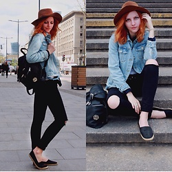 Irena - Pull & Bear Jeans Jackets, Bershka Black Jeans, H&M Shoes, Pull & Bear Hat - Morning in Warsaw