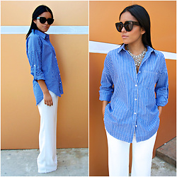 Fernanda Flores - Zara Necklace, Mango White Trousers, Celine Black Sunnies, Forever 21 Botton Up Stripes - WHITE TROUSERS