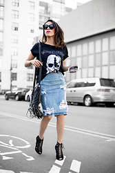 Francesca Felix - Stylestalker Lagerfeld Tee, One Teaspoon Pencil Skirt Denim, Steve Madden Lace Up Heels - Lagerfeld told me to do it