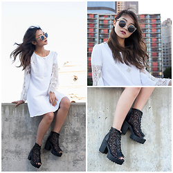 Atsuna Matsui - Jolly Chic White Dress, Jolly Chic Black Lacework Shoes, Quay Sunglasses - Tousled
