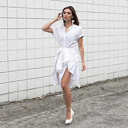 Tienlyn . - White Pumps, Shirt Dress - THE ULTIMATE LAYERING TRICK