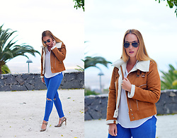 Nery Hdez - Korean Style Jacket, Hindsight Vintage Sunglasses, Zara Jeans - Sheep Skin