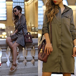 Sasa Zoe - Only $51 Matte Shine Shirt Dress, Bag, Sandals, Sunglasses - MATTE SHINE IN GRAND CENTRAL
