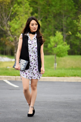 Kimberly Kong - H&M Sleeveless Vest, Equipment Floral Tunic, Ukies Studded Ankle Strap Heels - The Floral Tunic