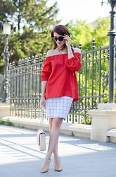 Cristina Feather - Mango Off The Shoulder Top, Top Secret Pencil Skirt, Zara Shoes, Yvy Bags Bag - Business lady on the go