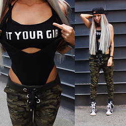Eeva K. - Vavavoom Camo Jogger Pants, Alati Swim Swimsuit - NOT YOUR GIRL